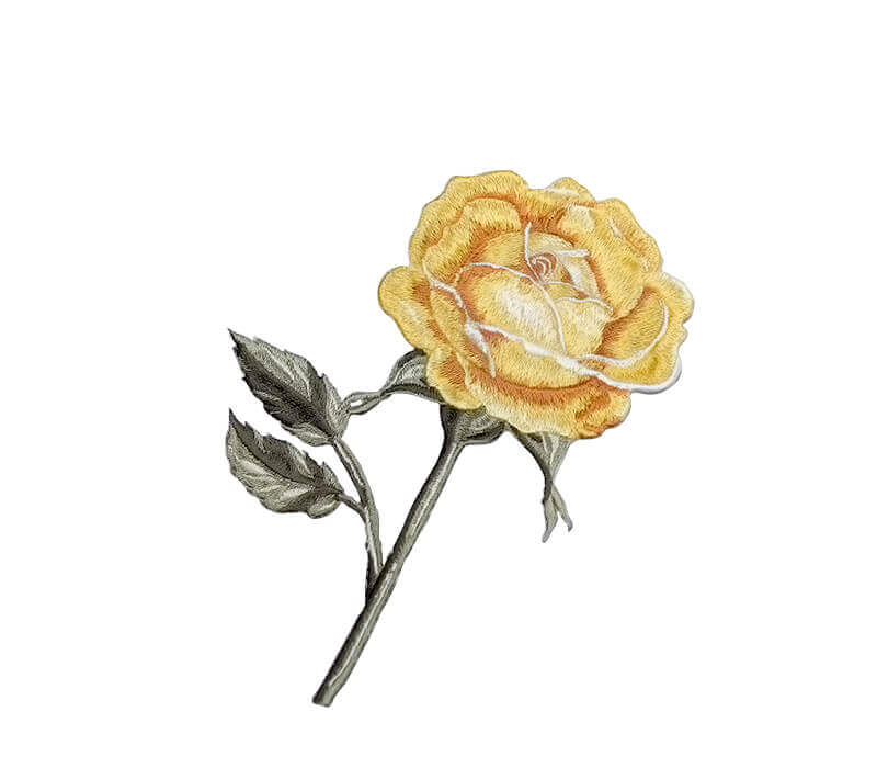 Embroidered Yellow Rose
